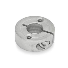 GN 7062.2 Collares de fijación semipartidos de acero inoxidable, con agujeros con brida Tipo: C - Con dos agujeros roscados