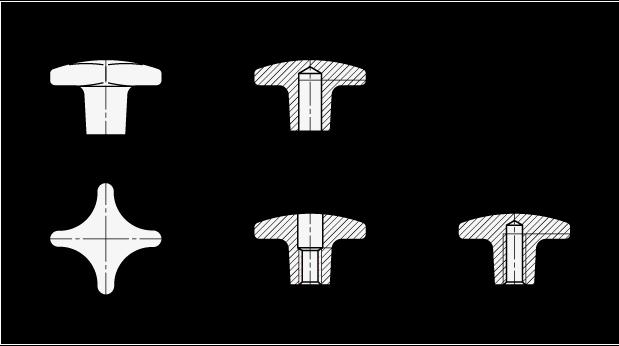 DIN 6335 Perillas manuales de aluminio, con orificio roscado o ciego boceto