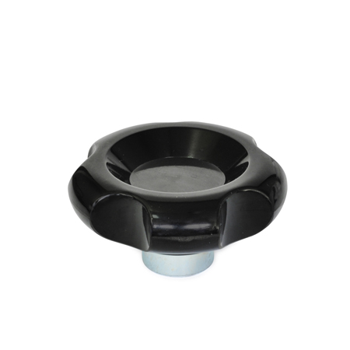 VU Perillas de control de cinco lóbulos, de plástico fenólico, con núcleo de acero
