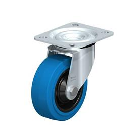 L-POEV Steel Medium Duty Rubber Wheel Swivel Casters, with Plate Mounting Type: R-SB - Roller Bearing with Blue Wheel