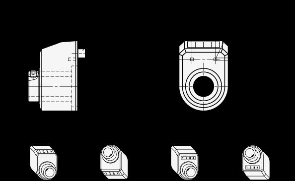 EN 954 Indicadores de posición digitales de plástico, pantalla de 4 dígitos boceto