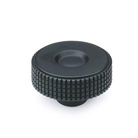 EN 534 Technopolymer Plastic Diamond Cut Knurled Knobs, Tapped or Plain Blind Bore Insert