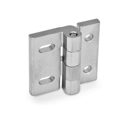 GN 235 Stainless Steel Hinges, Adjustable Material: NI - Stainless steel Type: DB - With through holes and horizontal slots Finish: GS - Matte, shot-blasted finish