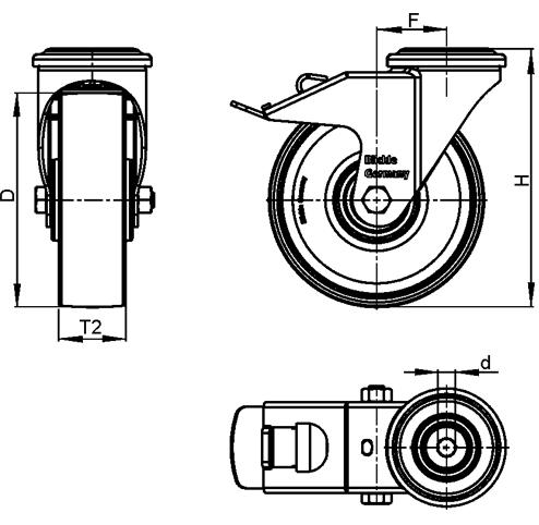 LKRXA-TPA Rodajas giratorias de acero inoxidable de servicio ligero, con ruedas de caucho termoplástico y ajuste con agujero para perno, serie de soportes pesados  boceto