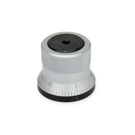 GN 200 Steel, Indexing Mechanisms, With Serrations Type: AS - with knob, matte chrome plated, with scale 0...50, 60 graduations