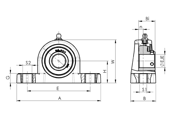 AN 7874 Plastic and Steel Pillow Block Flange Bearing sketch