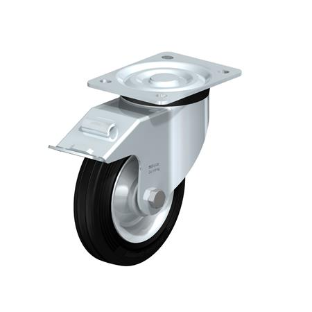 L-RD Heavy pressed steel Medium Duty Black Rubber Wheel Casters, with Plate Mounting Type: R-FI - Roller Bearing with Stop-Fix Brake