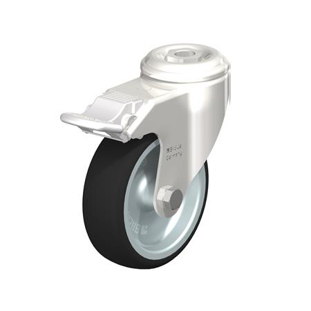 LKRXA-PATH Stainless Steel Swivel Casters, with Bolt Hole Mounting, Heavy Bracket Series Type: G-FI - Plain Bearing with Stop-Fix Brake