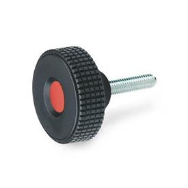 EN 534 Technopolymer Plastic Diamond Cut Knurled Knobs, with Steel Threaded Stud, with Red Cap