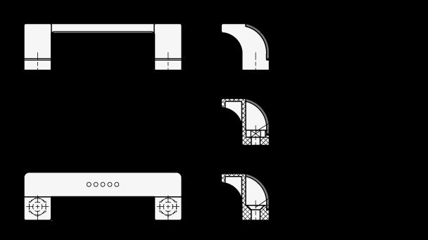 EN 630.1 Jaladeras en «U» abiertas, inclinadas Ergostyle® de plástico tecnopolímero boceto
