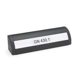 GN 430.1 Aluminum Ledge Handles, with Lettering Block  Finish: SW - Black, RAL 9005, textured finish