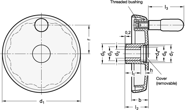 EN 521.5 Volantes de Disco, casquillo / Husillo de Acero Inoxidable boceto