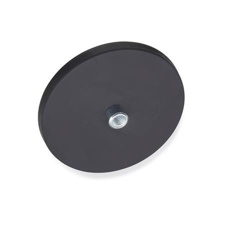 GN 51.2 Steel Retaining Magnets, disc-shaped, with tapped hole, with rubber jacket