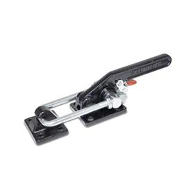 GN 852.3 Steel Latch Type Toggle Clamps, Heavy Duty Type, with Safety Hook Type: T6 - with mounting holes, with U-bolt latch, with catch