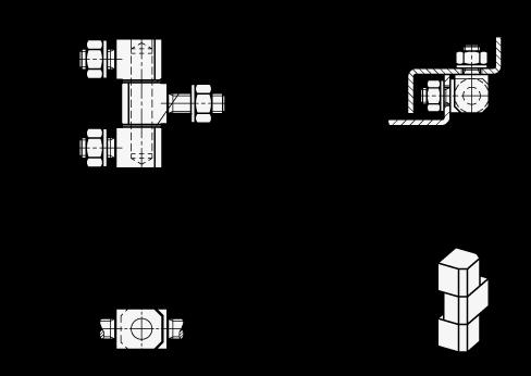 GN 129.5 Bisagras de acero inoxidable, constan de tres partes boceto