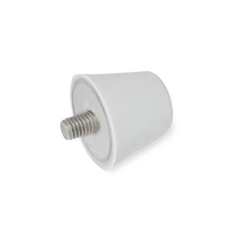 GN 256 Silicone Vibration / Shock Absorption Mounts, Conical Type, with Stainless Steel Components, Threaded Stud