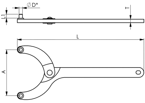 NO.764 Hinge-Type Pin-Face Spanners sketch