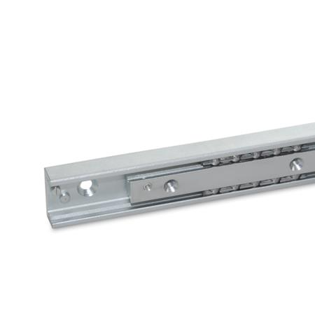 GN 2404 Steel Telescopic Linear Slides, With Partial Extension