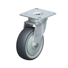 LPA-TPA Rodajas giratorias de acero de servicio ligero, con ruedas de caucho termoplástico y placa de montaje, serie de soportes estándar Type: K-FK