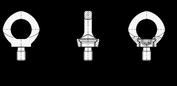 GN 581.5 Perno de ojo de elevación de seguridad giratorios, de acero inoxidable boceto