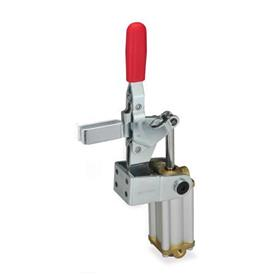 GN 862.1 Steel Pneumatic Toggle Clamps, with Vertical Mounting Base, with Additional Manual Operation Type: APV3S - U-bar version with, two flanged washers
