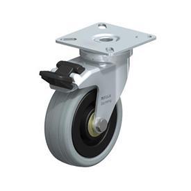 LPA-VPA Rodajas giratorias de acero con ruedas caucho gris de servicio ligero, con placa de montaje, serie de soportes estándar Type: K-FI - Cojinete de bolas con freno «stop-fix»