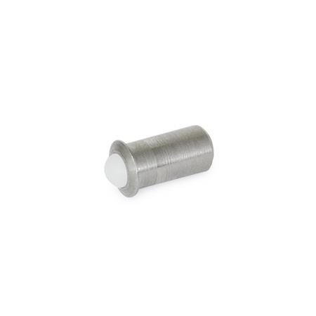 PBP Steel or Stainless Steel Press-Fit Ball Plungers Form: KN - Stainless Steel, standard spring load