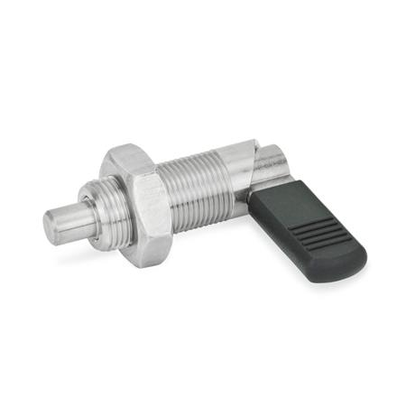 GN 612 Stainless Steel Cam Action Indexing Plungers, Lock-Out Type: BK - with plastic cap, with lock nut<br />Stainless Steel: NI - Stainless steel
