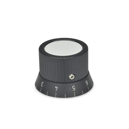 GN 726.2 Metric Size, Aluminum, Knurled Control Knobs, Plain Bore or Collet Type Bore d<sub>2</sub> (Id. No.1): B 10 Type: S - with scale 0...9, 20 graduations