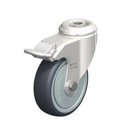 LKRXA-TPA Rodajas giratorias de acero inoxidable de servicio ligero, con ruedas de caucho termoplástico y ajuste con agujero para perno, serie de soportes pesados  Type: KD-FI-FK