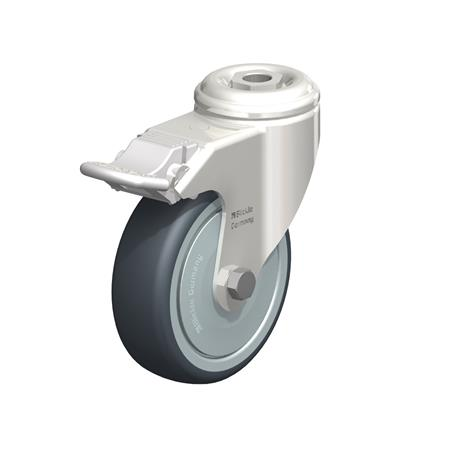 LKRXA-TPA Stainless Steel Light Duty Swivel Casters with Thermoplastic Rubber Wheels and Bolt Hole Fitting, Heavy Bracket Series  Type: KD-FI-FK - Ball Bearing Seals with Stop-Fix Brake, with Thread Guard