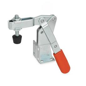 GN 812 Steel Vertical Acting Toggle Clamps, Steel, with Dual Flanged Mounting Base Type: CV - U-bar version, with two flanged washers and GN 708.1 spindle assembly