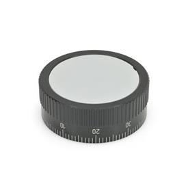GN 736.1 Perillas de control moleteadas con escala estándar, de aluminio, con o sin mango giratorio  Tipo: A - Sin empuñadura
