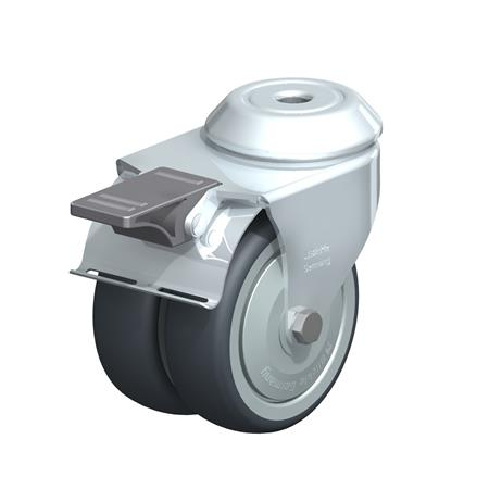 LMDA-TPA Steel, Light Duty Twin Wheel Swivel Casters with Thermoplastic Rubber Wheels and Bolt Hole Fitting, Standard Bracket Series  Type: K-FI-FK - Ball Bearing with Stop-Fix Brake, with Thread Guard