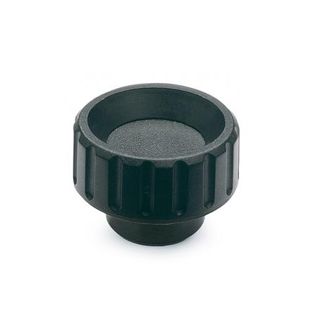 EN 590.5 Technopolymer Plastic Fluted Grip Knobs, with Stainless Steel Tapped Insert Type: E - with threaded blind bore