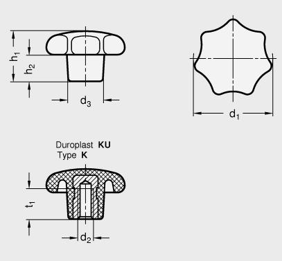 DIN 6336 Perillas de estrella de plástico fenólico, con inserto roscado de latón boceto