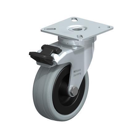 LPA-VPA Steel Light Duty Gray Rubber Wheel Swivel Casters, with Plate Mounting, Standard Bracket Series Type: G-FI - Plain Bearing with Stop-Fix Brake