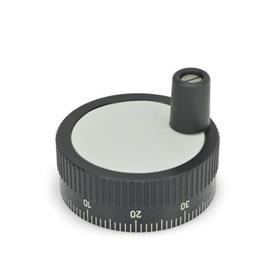 GN 736.1 Perillas de control moleteadas con escala estándar, de aluminio, con o sin mango giratorio  Tipo: D - Con mango giratorio