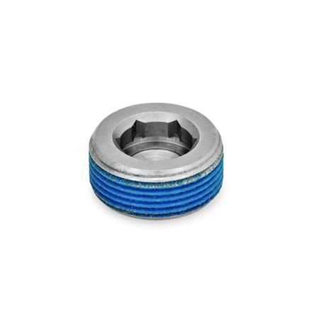 GN 252.5 Stainless Steel Threaded Plugs Type: PRB - with thread coating (polyamide allround coating)