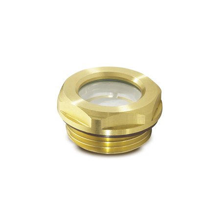 GN 743.2 Brass Fluid Level Sight Glasses, with Natural Glass