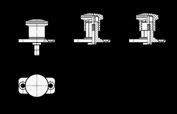 GN 822.8 Miniposicionadores de indexado, de acero, con placa de montaje, con y sin bloqueo boceto