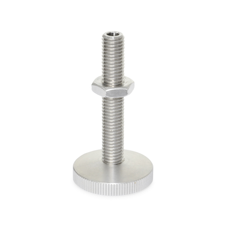 GN 339 Stainless Steel Leveling Mounts, With Gliding or Non-Skid Plastic Pad
