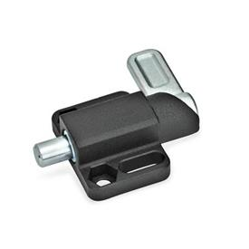 GN 722.3 Steel Square Spring Latches, with flange for surface mounting Finish: SW - Black, textured finish<br />Type: R - right indexing cam