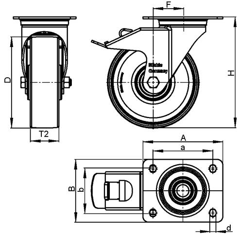 L-ALTH Rodajas giratorias de acero con banda Extrahane® de servicio medio, con placa de montaje  boceto