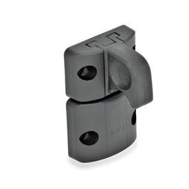 EN 449 Mecanismos de bloqueo para puertas con picaporte con muelle de plástico Tipo: B - Cierre a presión, con trabe, con agarradera<br />Color: SW - Negro, acabado mate