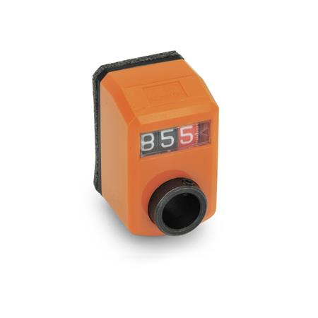 EN 955 Indicadores de posición mini digitales de plástico, pantalla de 3 dígitos Instalación (vista anterior): FN - en el frente, arriba<br />Color: OR - Naranja, RAL 2004