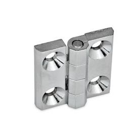 GN 237 Zinc Die-Cast or Aluminum Hinges, Countersunk Thru Holes or Threaded Stud Type Material: ZD - Zinc die-cast<br />Type: A - 2x2 bores for countersunk screws<br />Finish: CR - Chrome plated finish
