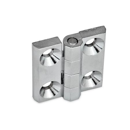 GN 237 Zinc Die-Cast or Aluminum Hinges, Countersunk Thru Holes or Threaded Stud Type Material: ZD - Zinc die-cast Type: A - 2x2 bores for countersunk screws Finish: CR - Chrome-plated finish