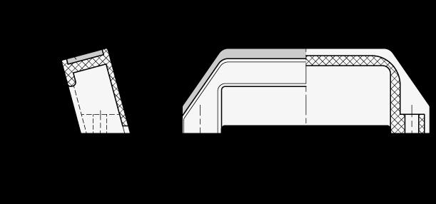 MFA Jaladeras cerradas de nylon plastificado, en ángulo, con agujeros pasantes boceto