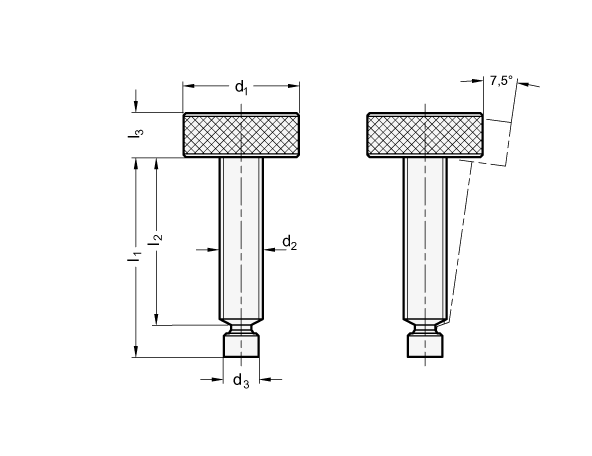 KHTS Knurled Toggle Clamp Screws sketch